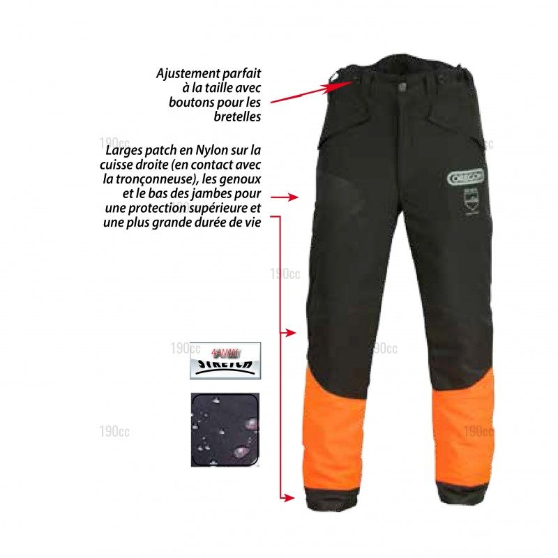 Pantalon bucheron anti coupure oregon waipoua 190cc - Pantalon de bucheron ...
