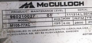 plaque tracteur pelouse Mc Culloch
