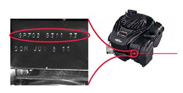 Trouver numéro de moteur Briggs Stratton EXI Series